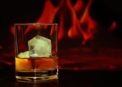l'alcohol, beguda alcohòlica, borrosa, close-up, còctel, fred, cub
