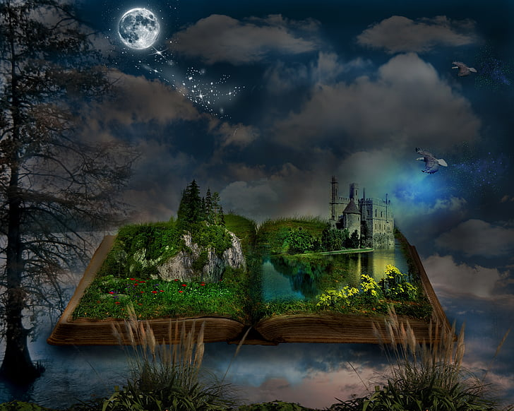 book, manipulation, nature, fantasy, old, clouds, history