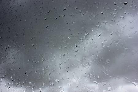 rain, drops of water, water, raining, rainy, glass, drop of rain