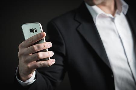 бізнес, людина, смартфон, телефон, мобільний телефон, Зайнятий, маркетинг