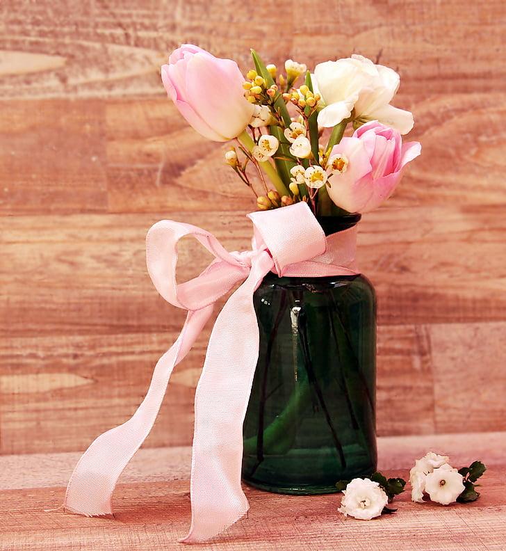 tulpaner, Ranunculus, vas, blommor, blomvas, Vårens blommor, våren