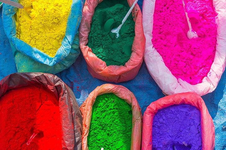 tänava turul, Värviline, Värvid, pulber, Nepal, mitme värviline, pidu