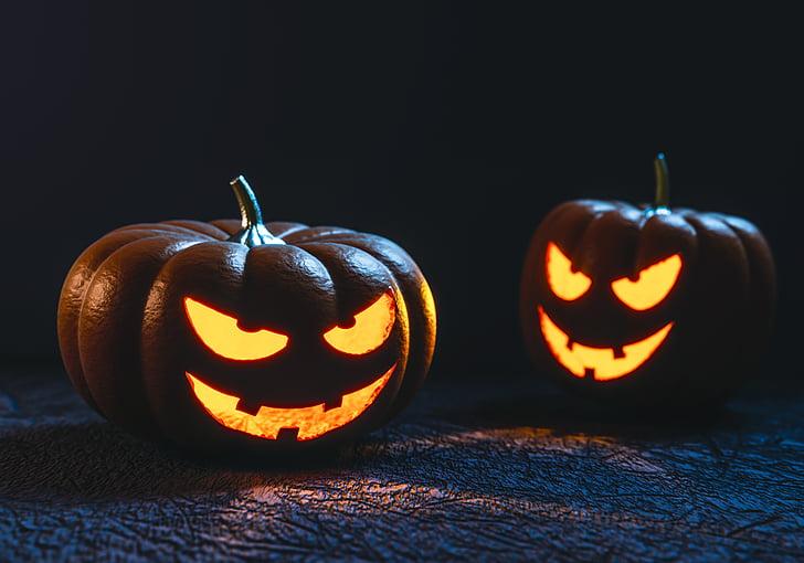halloween, pumpkin, carving, face, creepy, spooky, ghost
