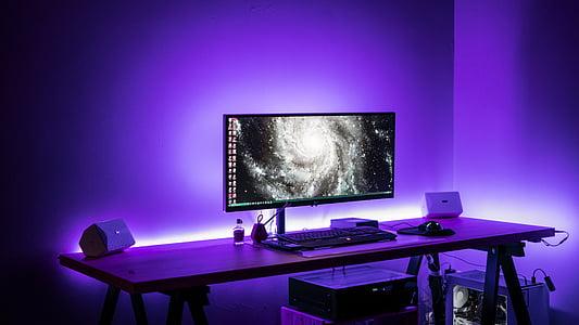 computer, keyboard, apple, electronics, modern, technology, room