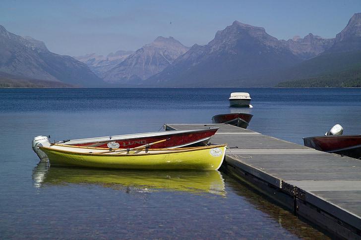 Llac mcdonald, embarcacions, Moll, Moll, recreació, paisatge, escèniques