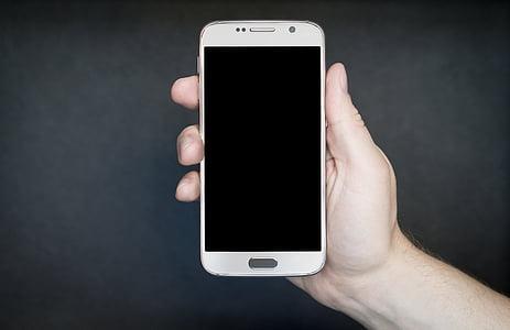 smartphone, blanc, plata, gris, androide, tecnologia, exhibició