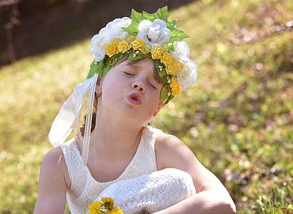 ανθρώπινη, το παιδί, Κορίτσι, πρόσωπο, λουλούδι παιδί, λουλούδια, floral στεφάνι