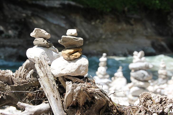 pierres, empilé, Balance, tour, tour de Pierre