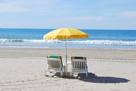 Beach, Aurinkotuoli, Holiday, Välimerelle, oma ranta, joutilaisuus, Seaside