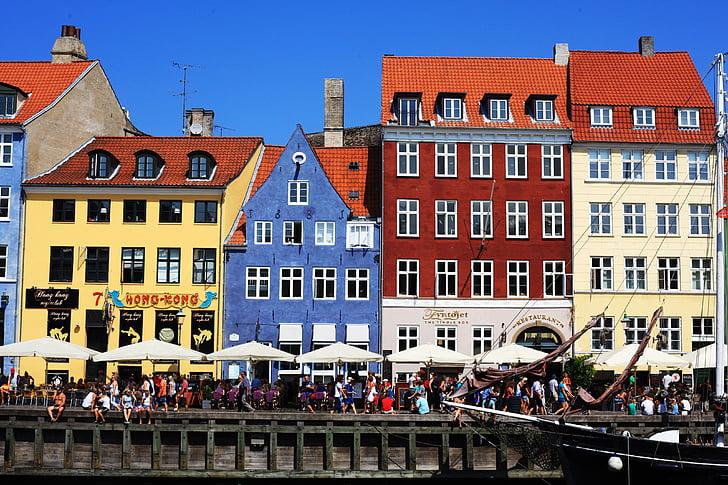 copenhagen, kobenhavn, landscape, houses, colors, capital, boats