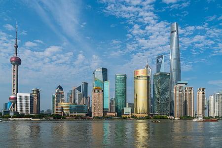 Shanghai, Bund, Kina, staden, arkitektur, Pudong, skyskrapa