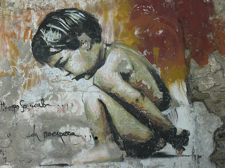graffiti, malý chlapec, Granada graffiti z