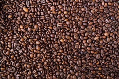 koffie, bonen, koffiebonen, voedsel, textuur, patroon, gebrande koffieboon