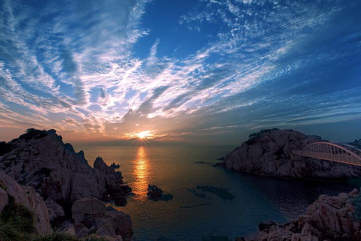 Ulsan, nascer do sol, o grande câncer, mar, pôr do sol, natureza, litoral