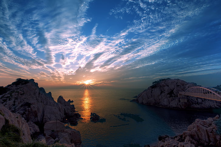 Ulsan, matahari terbit, kanker besar, laut, matahari terbenam, alam, Pantai