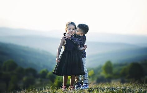 nen, bonica, model de, poc, valent, persones, Retrat