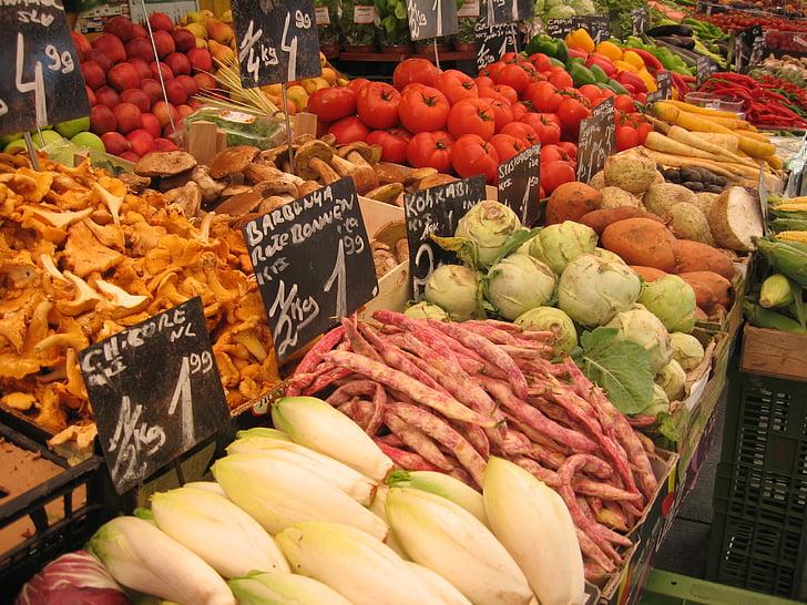 рынок, овощи, стойло рынка, питание, здоровые, съесть, витамины