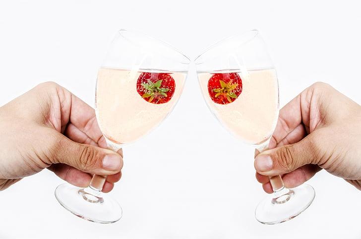 ampolla, torrades, celebració, nou, l'any, vidre, temps