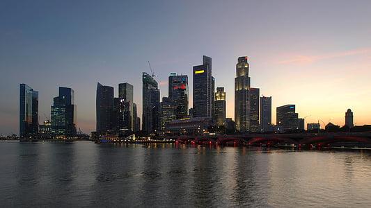 Singapura, pencakar langit, pemandangan kota, Bisnis, keuangan, matahari terbenam