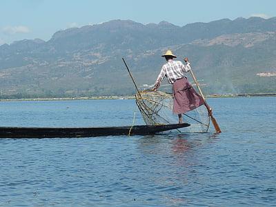 burma, lake inle, myanmar, fisherman, water, one person, lake