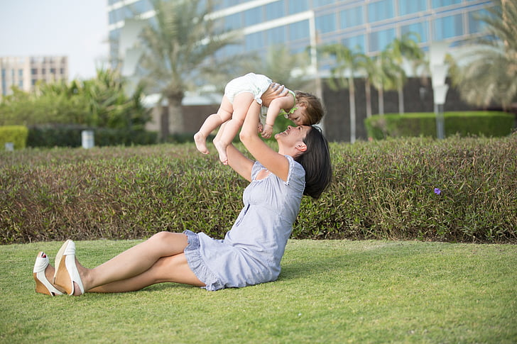 mother, daughter, family, park, child, love, mom and baby