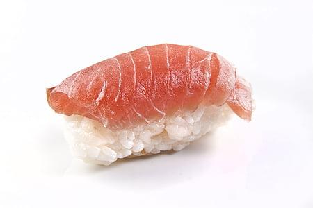 salmó, peix, nigiri, sushi, crua, arròs, aliments
