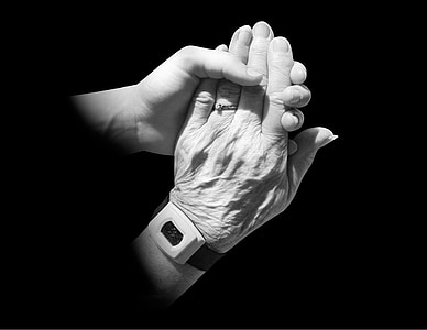 hands, old, young, holding, caring, friends, family