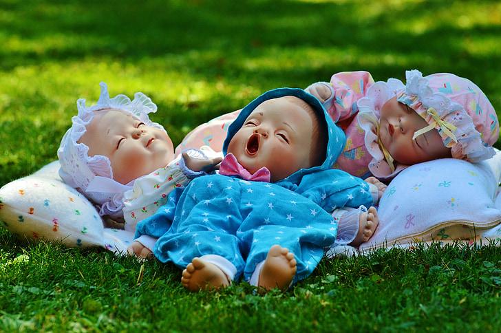 Babies, tre, sonno, occhi chiusi, tranquillo, carina, infante