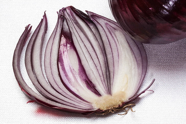 onion, allium cepa, red onion, sliced, sulfide containing, essential oils, raw