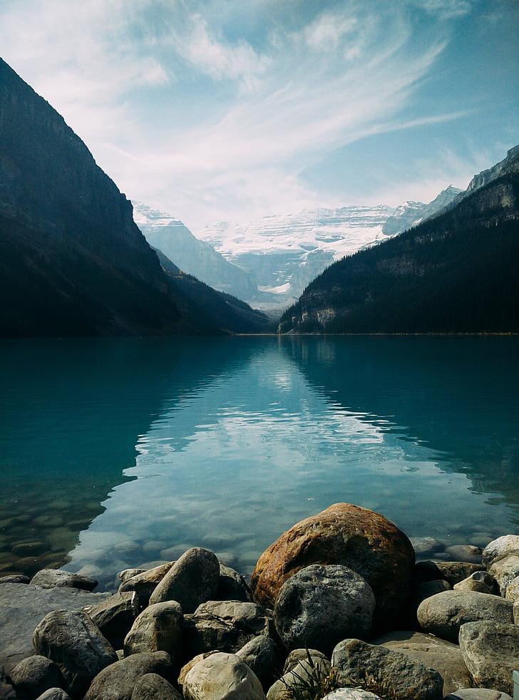 lake, landscape, mountain, nature, outdoors, placid, rocks