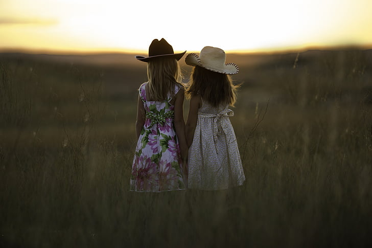 māsas, vasaras, bērnu, meitenes, bērnībā, piemīlīgs, brāļi un māsas