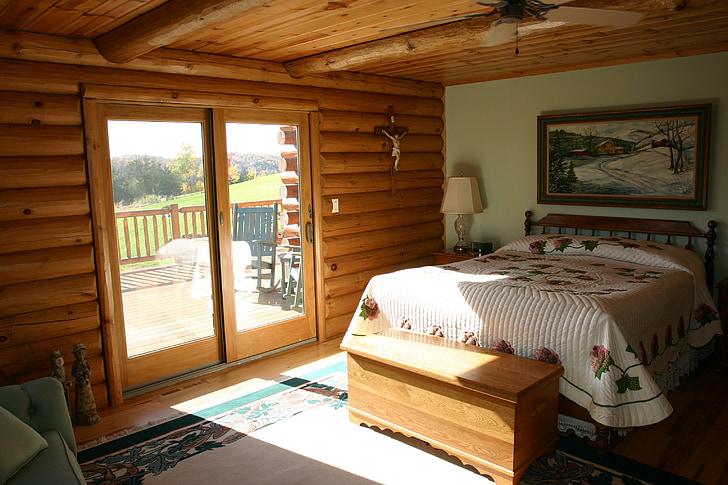 master bedroom, bed, logs, cabin, log home, bedroom, interior