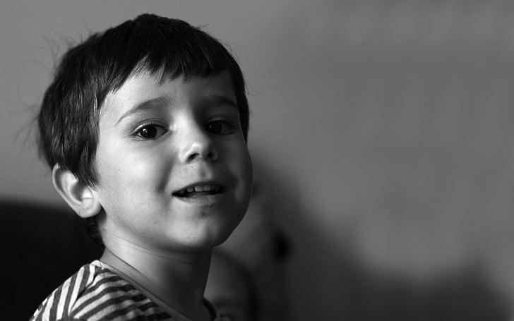 criança, preto e branco, retrato de criança