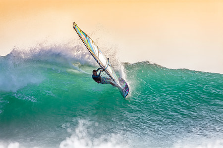 windsurf, grans onades, al capvespre, llum de fons, esprai, Costa d'origen Ujung, l'oceà Índic