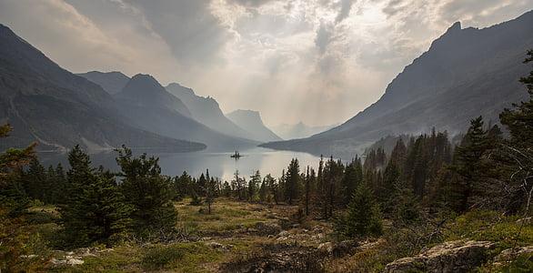paisatge, panoràmica, escèniques, núvols, Llac, muntanyes, arbres