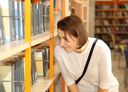 bibliotēka, grāmatas, meitene, Smart, lasījums, literatūra, izglītība