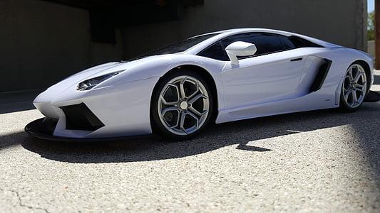 Samochodzik Ferrari, biały samochód, z bliska, kąt strzału, Automatycznie, samochód, kątowe