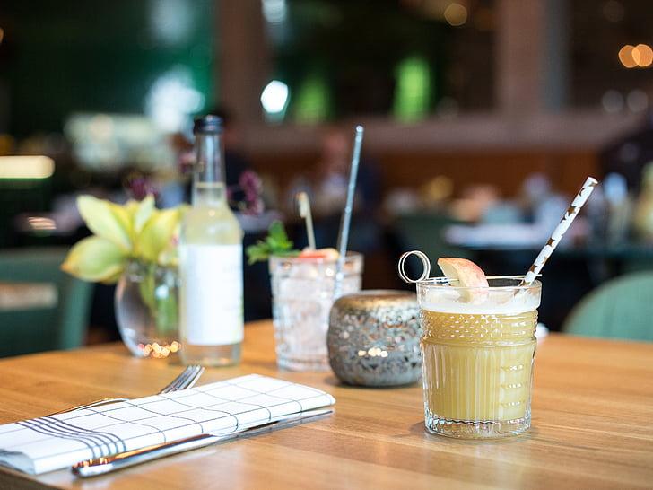 nápoje, nápoj, za studena, Tabuľka, Reštaurácia, Shake, sklo