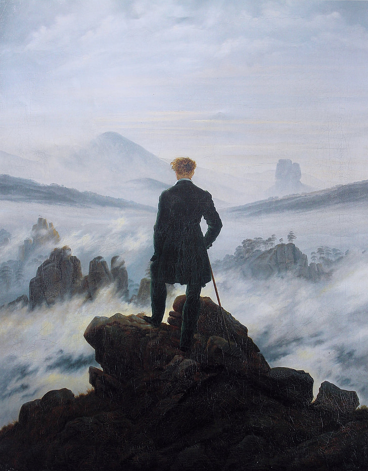 chân dung tự họa, Wanderer trên biển sương mù, Caspar david friedrich, 1818, bức tranh, tác phẩm nghệ thuật, người đàn ông