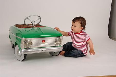 child, toy, children's car, retro car, baby, boy, sitting
