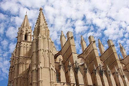 Mallorca, székesegyház, Palma, épület, építészet, templom, Spanyolország
