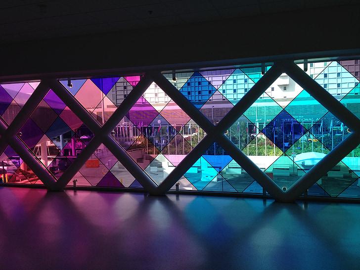 Miami, l'aeroport, Art, finestra, colors, vidre, disseny