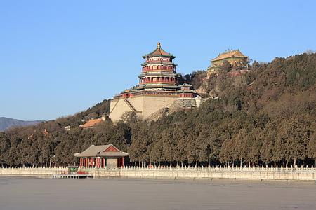 Cung điện mùa hè, Bắc Kinh, mùa đông, băng, Trung Quốc, đông lạnh, Lake