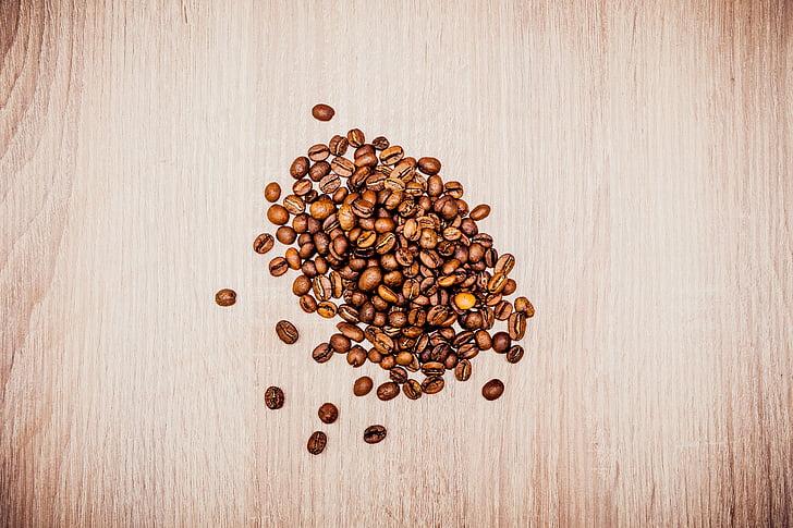 cafè, fesol, llavor, cafeteria, fusta, taula, marró