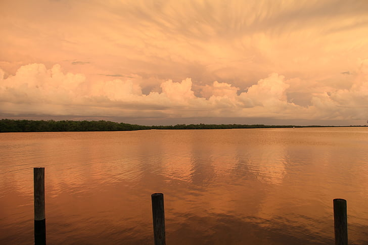 잔 광, wolkenspiel, 저녁 하늘, abendstimmung, 황혼, 여름 뇌우, 플로리다