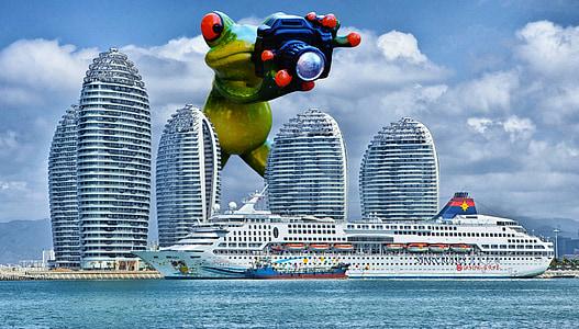 groda, fotograf, jätten, Rolig, kryssningsfartyg, fartyg, Hainan