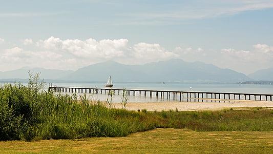 Danau, Chiemsee, pemandangan, pegunungan, air, langit, kapal