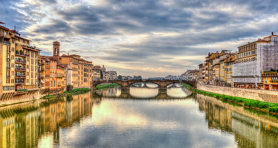 arno river, florence, italy, reflection, river, mediterranean, clouds