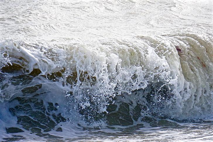spray, hullám, víz, tenger, óceán, hab, viharos