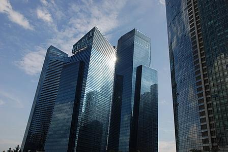 pencakar langit, Singapura, langit, refleksi, ini tercermin dalam, kaca